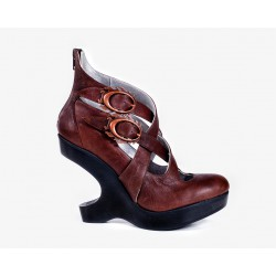 Spanish Alternative Heel Lees Shoe Silver Brown Leather by Octavio Vera