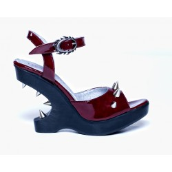 Spanish Alternative Heel Lees Shoe Dementia Burgundy by Octavio Vera