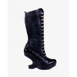 Mistress Black Leather Heel Less Boots