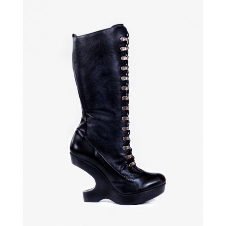 Spanish Alternative Heel Lees Boot Mistrees Black Leather by Octavio Vera